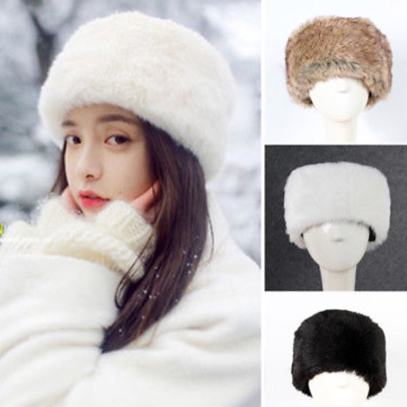 275563742 LAST ONE - DAY SALE ☃️WHITE RUSSIAN FAUX FUR HAT NWT